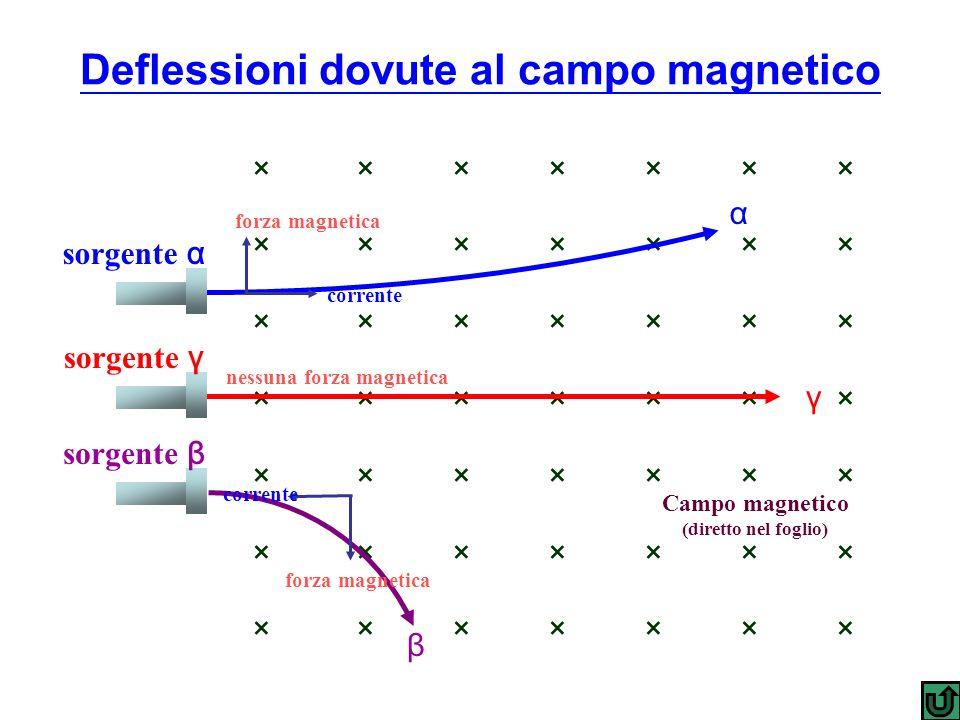 × × × × × × × Campo magnetico (diretto nel foglio) sorgente α sorgente γ sorgente β α γ β corrente forza magnetica nessuna forza magnetica corrente fo