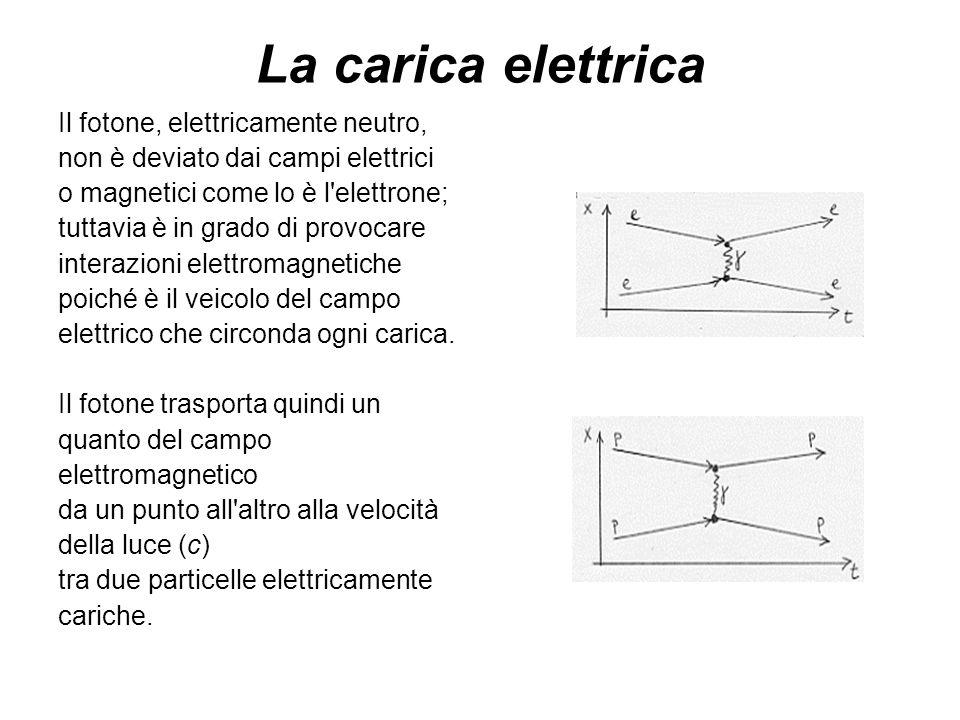 La carica elettrica Il fotone, elettricamente neutro, non è deviato dai campi elettrici o magnetici come lo è l'elettrone; tuttavia è in grado di prov