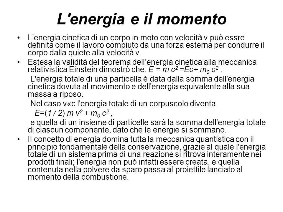 L'energia e il momento Lenergia cinetica di un corpo in moto con velocità v può essre definita come il lavoro compiuto da una forza esterna per condur