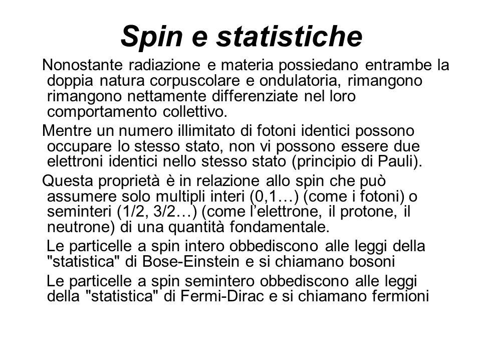 Spin e statistiche Nonostante radiazione e materia possiedano entrambe la doppia natura corpuscolare e ondulatoria, rimangono rimangono nettamente dif