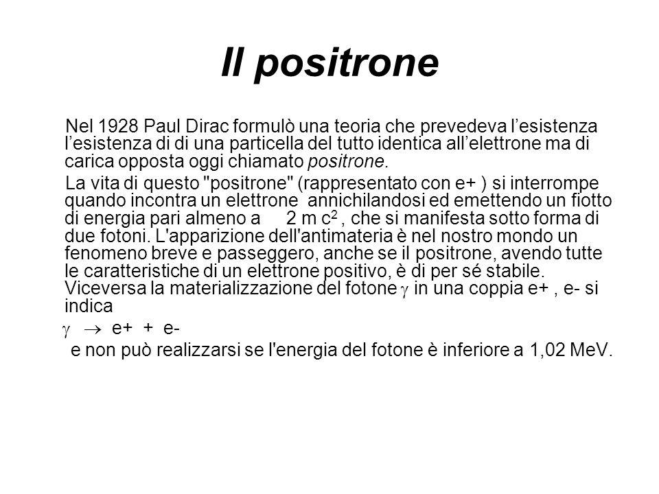 Il positrone Nel 1928 Paul Dirac formulò una teoria che prevedeva lesistenza lesistenza di di una particella del tutto identica allelettrone ma di car