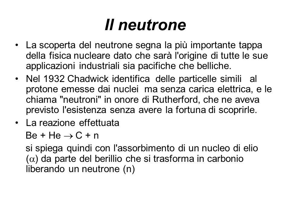 Il neutrone La scoperta del neutrone segna la più importante tappa della fisica nucleare dato che sarà l'origine di tutte le sue applicazioni industri