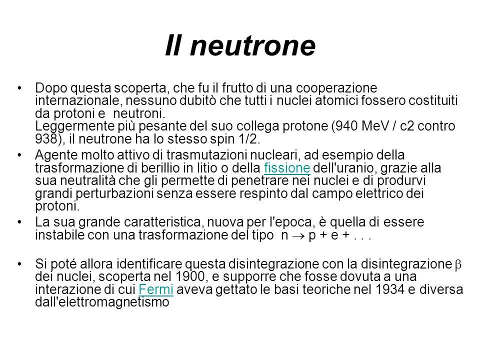 Il neutrone Dopo questa scoperta, che fu il frutto di una cooperazione internazionale, nessuno dubitò che tutti i nuclei atomici fossero costituiti da