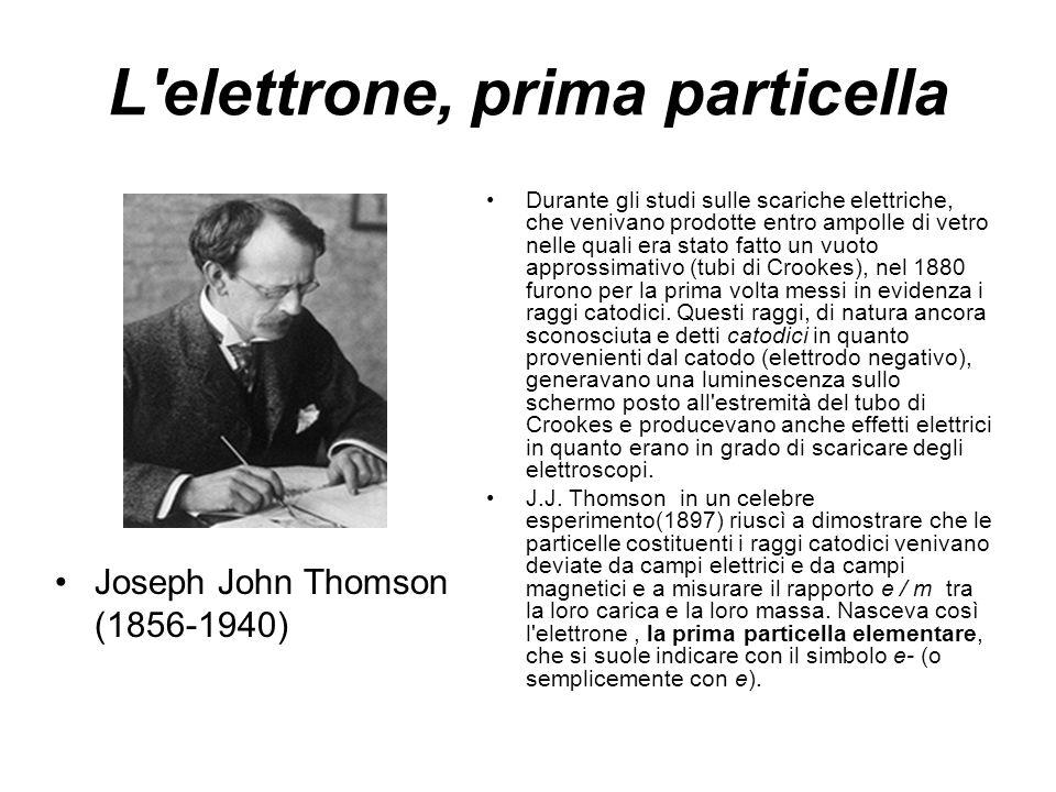 L'elettrone, prima particella Joseph John Thomson (1856-1940) Durante gli studi sulle scariche elettriche, che venivano prodotte entro ampolle di vetr