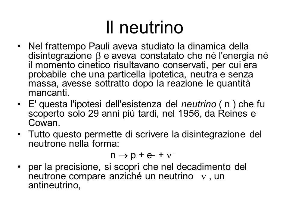 Il neutrino Nel frattempo Pauli aveva studiato la dinamica della disintegrazione e aveva constatato che né l'energia né il momento cinetico risultavan
