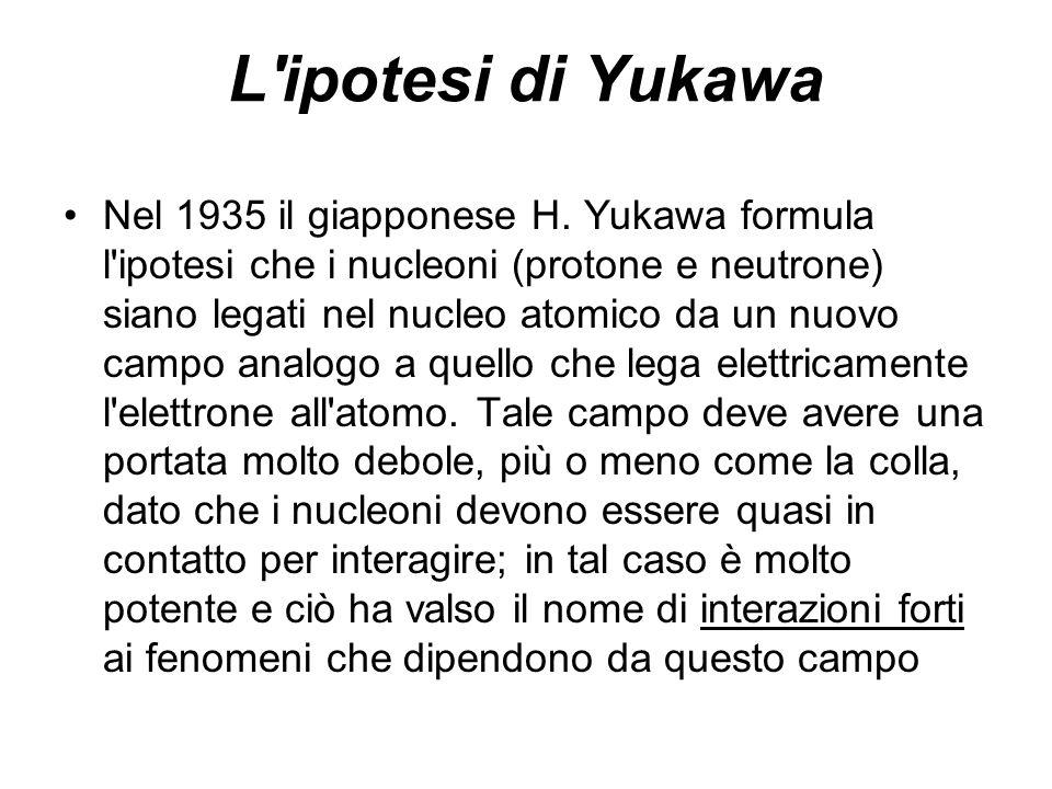 L'ipotesi di Yukawa Nel 1935 il giapponese H. Yukawa formula l'ipotesi che i nucleoni (protone e neutrone) siano legati nel nucleo atomico da un nuovo