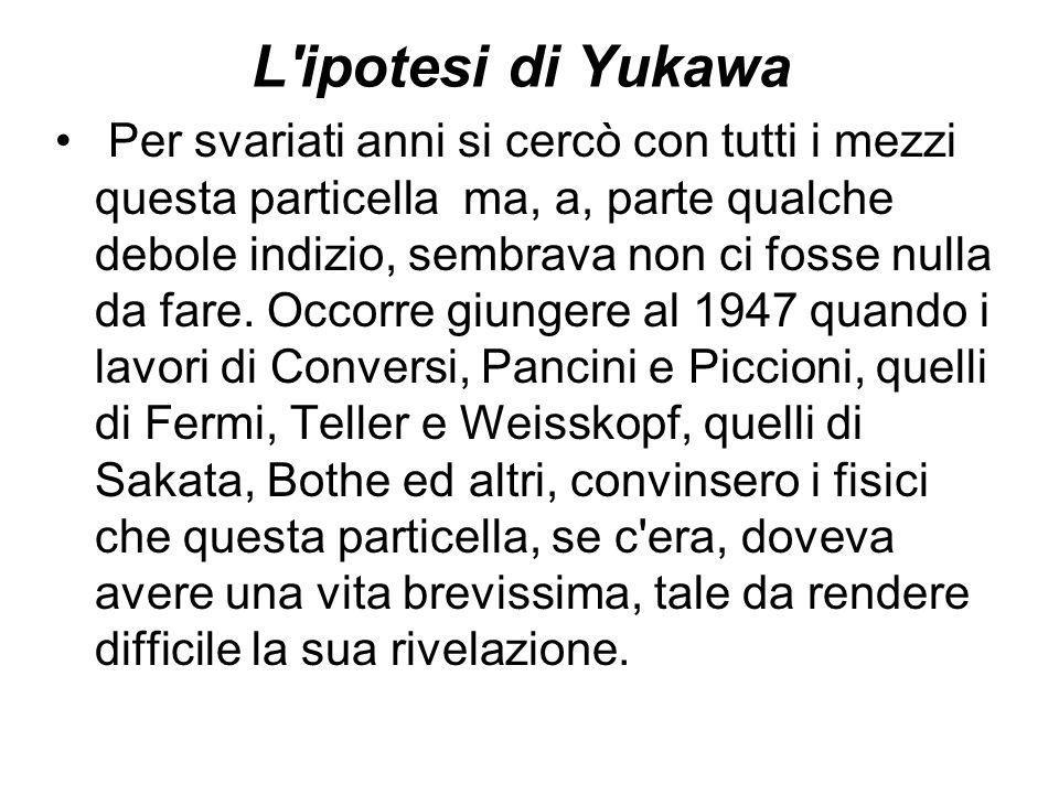 L'ipotesi di Yukawa Per svariati anni si cercò con tutti i mezzi questa particella ma, a, parte qualche debole indizio, sembrava non ci fosse nulla da