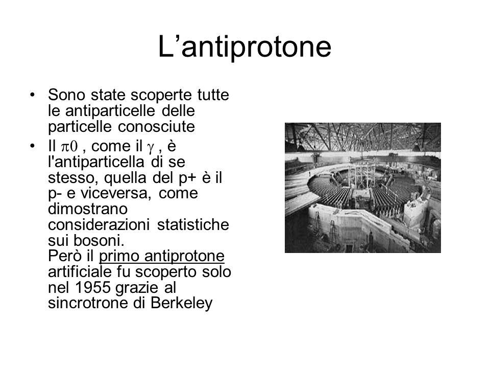 Lantiprotone Sono state scoperte tutte le antiparticelle delle particelle conosciute Il, come il, è l'antiparticella di se stesso, quella del p+ è il