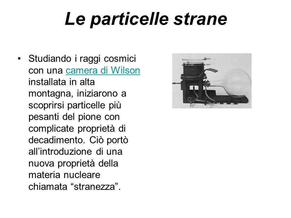 Le particelle strane Studiando i raggi cosmici con una camera di Wilson installata in alta montagna, iniziarono a scoprirsi particelle più pesanti del