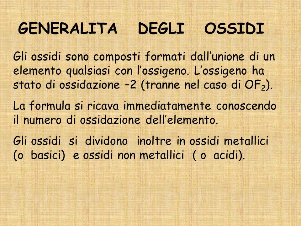 GENERALITA DEGLI OSSIDI Gli ossidi sono composti formati dallunione di un elemento qualsiasi con lossigeno.