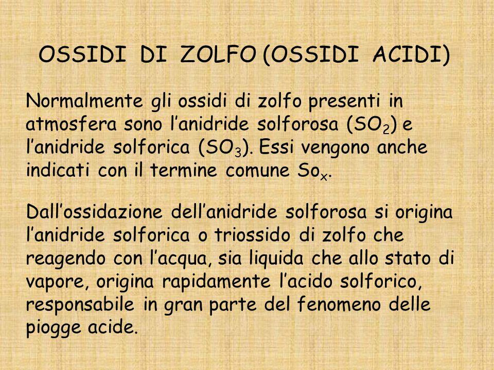 OSSIDI DI ZOLFO (OSSIDI ACIDI) Normalmente gli ossidi di zolfo presenti in atmosfera sono lanidride solforosa (SO 2 ) e lanidride solforica (SO 3 ).