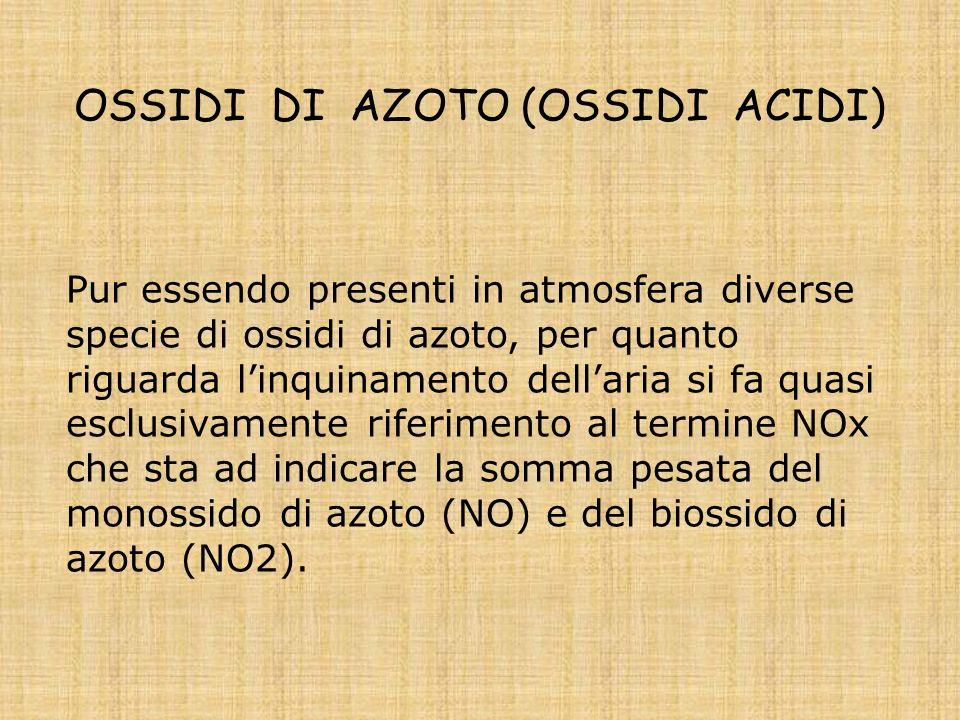 OSSIDI DI AZOTO (OSSIDI ACIDI) Pur essendo presenti in atmosfera diverse specie di ossidi di azoto, per quanto riguarda linquinamento dellaria si fa quasi esclusivamente riferimento al termine NOx che sta ad indicare la somma pesata del monossido di azoto (NO) e del biossido di azoto (NO2).