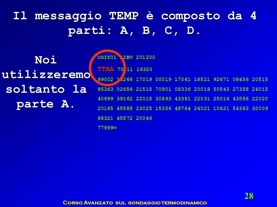 Corso Avanzato sul sondaggio termodinamico 28 Il messaggio TEMP è composto da 4 parti: A, B, C, D. Noi utilizzeremo soltanto la parte A. USIY01 LIBV 2