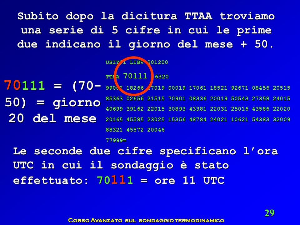 Corso Avanzato sul sondaggio termodinamico 29 Subito dopo la dicitura TTAA troviamo una serie di 5 cifre in cui le prime due indicano il giorno del me