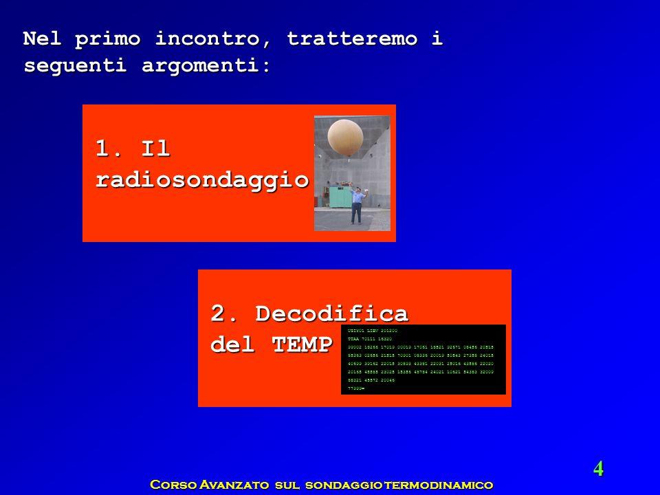 Corso Avanzato sul sondaggio termodinamico 4 1. Il radiosondaggio Nel primo incontro, tratteremo i seguenti argomenti: 2. Decodifica del TEMP USIY01 L