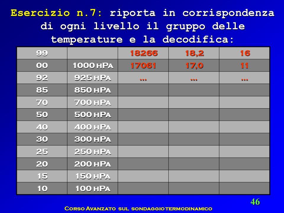Corso Avanzato sul sondaggio termodinamico 46 991826618,216 00 1000 hPa 1706117,011 92 925 hPa ……… 85 850 hPa 70 700 hPa 50 500 hPa 40 400 hPa 30 300
