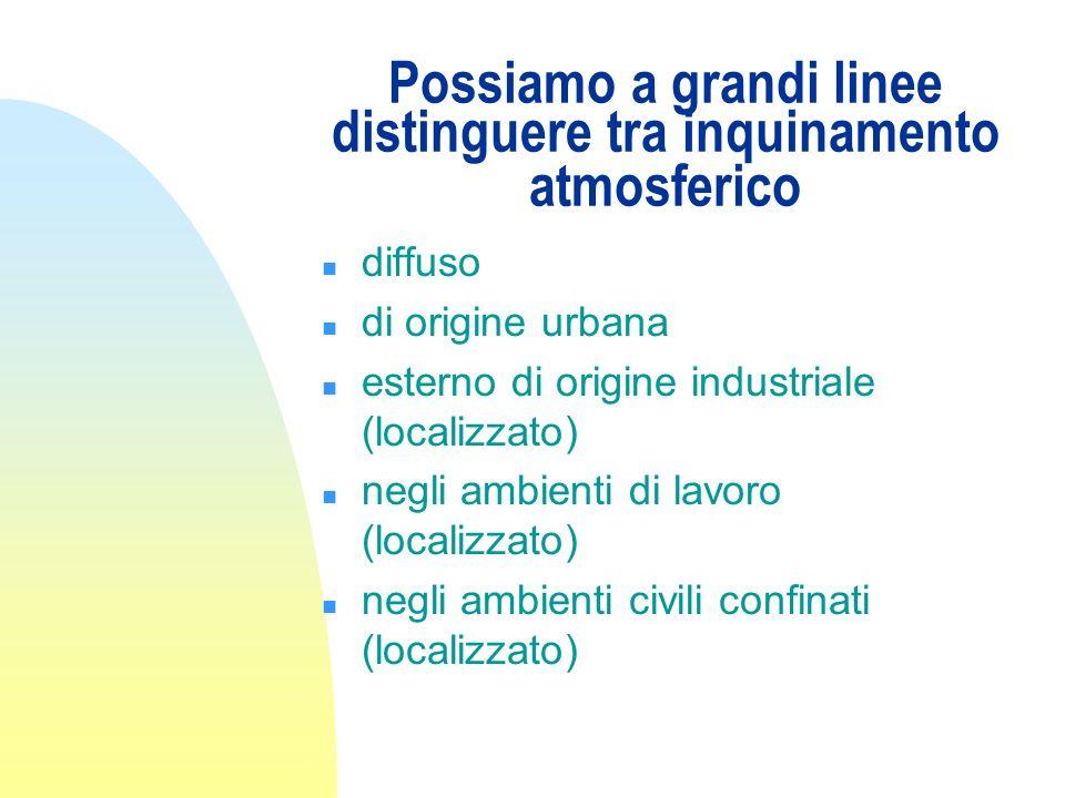 Possiamo a grandi linee distinguere tra inquinamento atmosferico n diffuso n di origine urbana n esterno di origine industriale (localizzato) n negli ambienti di lavoro (localizzato) n negli ambienti civili confinati (localizzato)