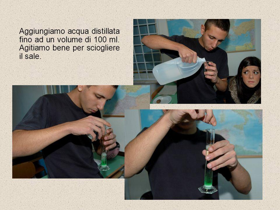 Aggiungiamo acqua distillata fino ad un volume di 100 ml. Agitiamo bene per sciogliere il sale.