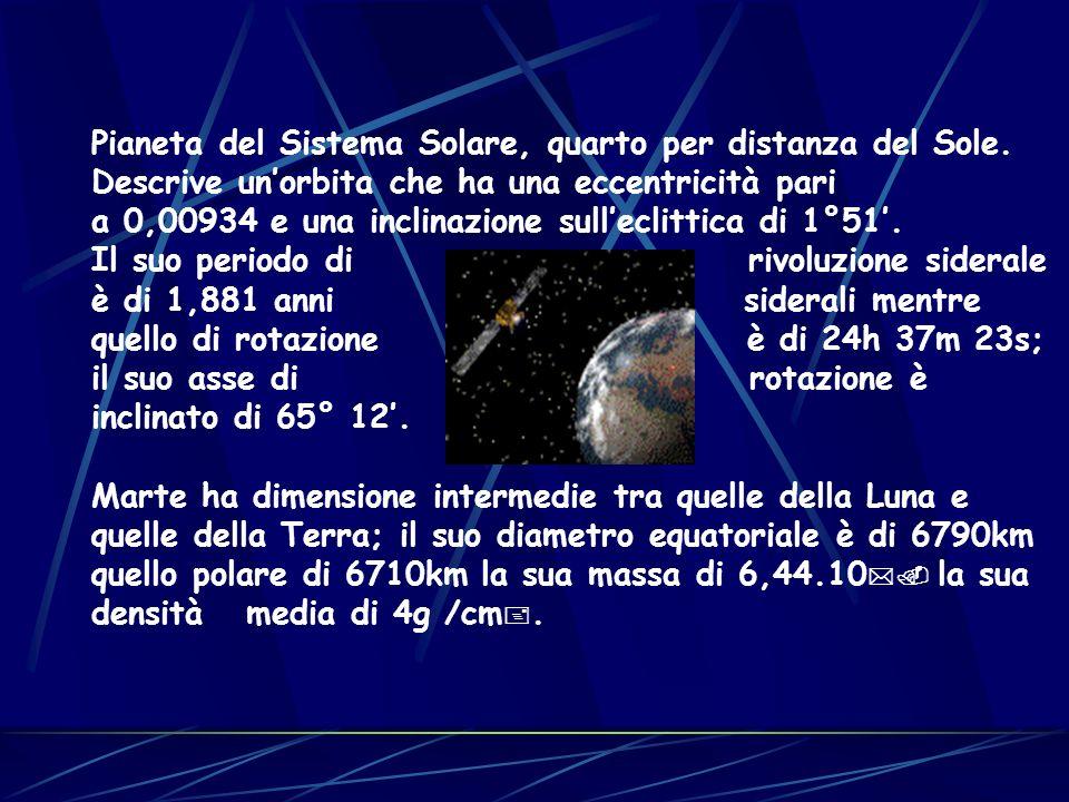 Pianeta del Sistema Solare, quarto per distanza del Sole. Descrive unorbita che ha una eccentricità pari a 0,00934 e una inclinazione sulleclittica di
