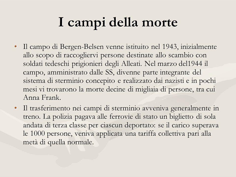 I campi della morte Il campo di Bergen-Belsen venne istituito nel 1943, inizialmente allo scopo di raccogliervi persone destinate allo scambio con soldati tedeschi prigionieri degli Alleati.