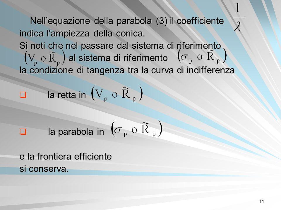 11 Nellequazione della parabola (3) il coefficiente indica lampiezza della conica. Si noti che nel passare dal sistema di riferimento al sistema di ri