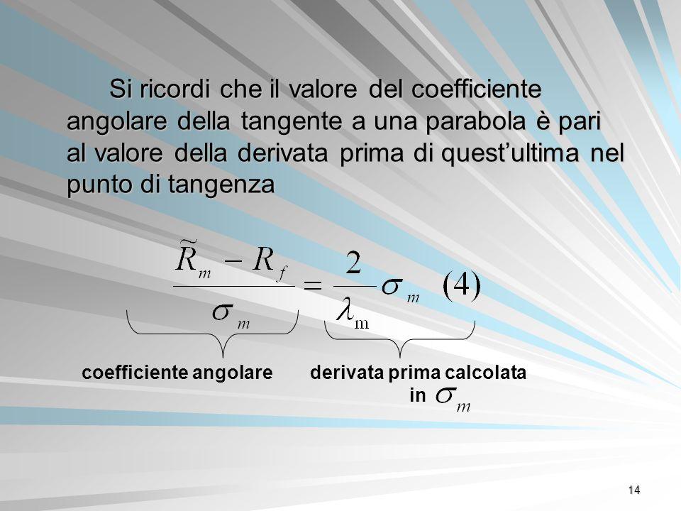 14 Si ricordi che il valore del coefficiente angolare della tangente a una parabola è pari al valore della derivata prima di questultima nel punto di