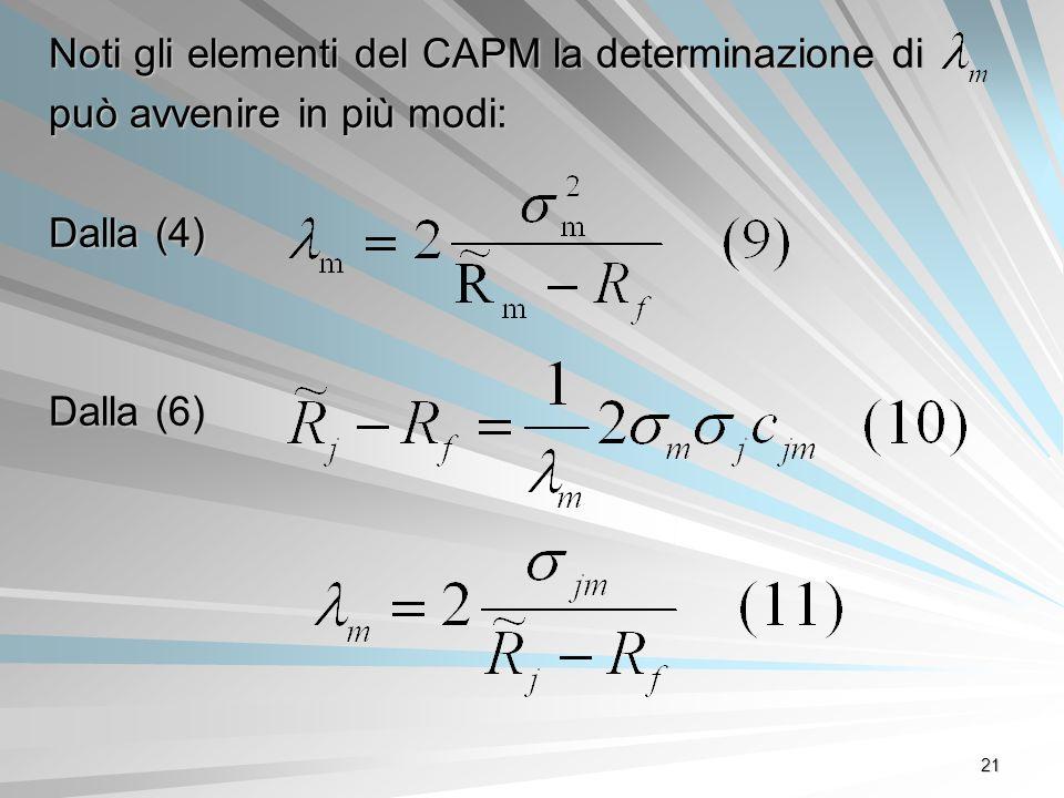 21 Noti gli elementi del CAPM la determinazione di può avvenire in più modi: Dalla (4) Dalla (6)
