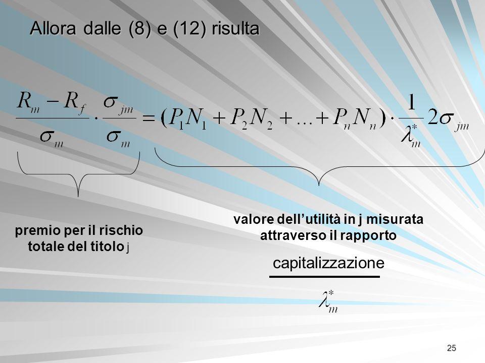 25 Allora dalle (8) e (12) risulta premio per il rischio totale del titolo j valore dellutilità in j misurata attraverso il rapporto capitalizzazione