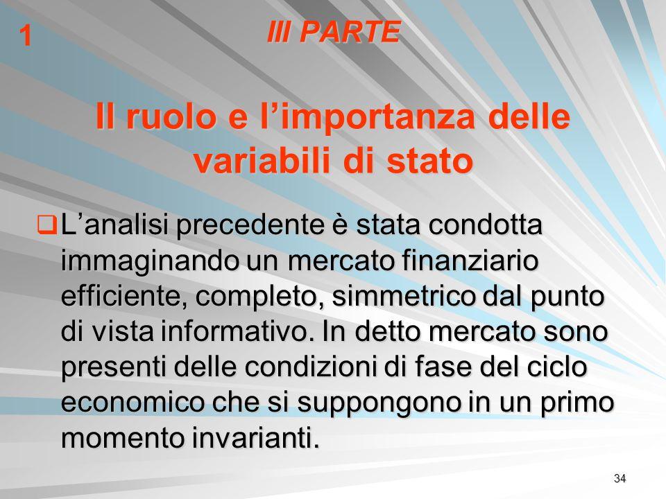 34 III PARTE Il ruolo e limportanza delle variabili di stato Lanalisi precedente è stata condotta immaginando un mercato finanziario efficiente, compl