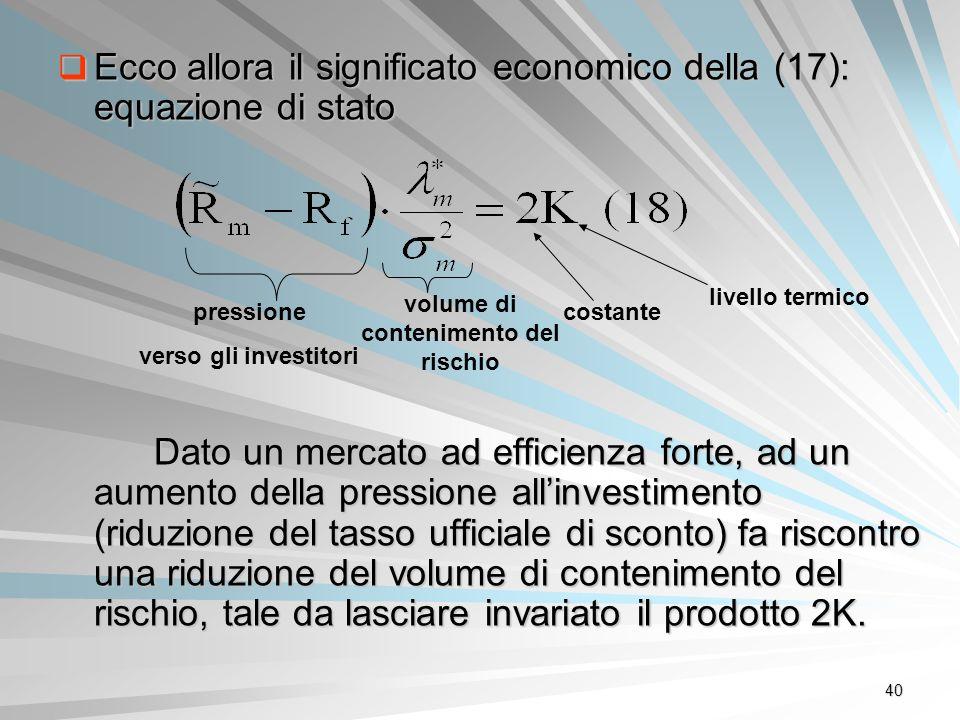 40 Ecco allora il significato economico della (17): equazione di stato Ecco allora il significato economico della (17): equazione di stato Dato un mer
