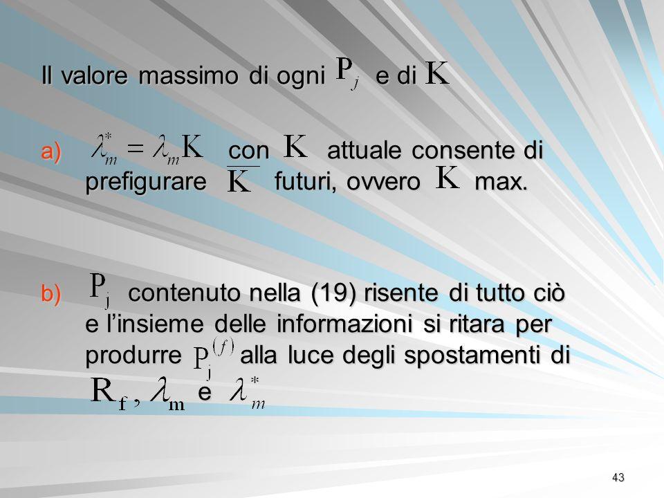 43 Il valore massimo di ogni e di a) con attuale consente di prefigurare futuri, ovvero max. b) contenuto nella (19) risente di tutto ciò e linsieme d