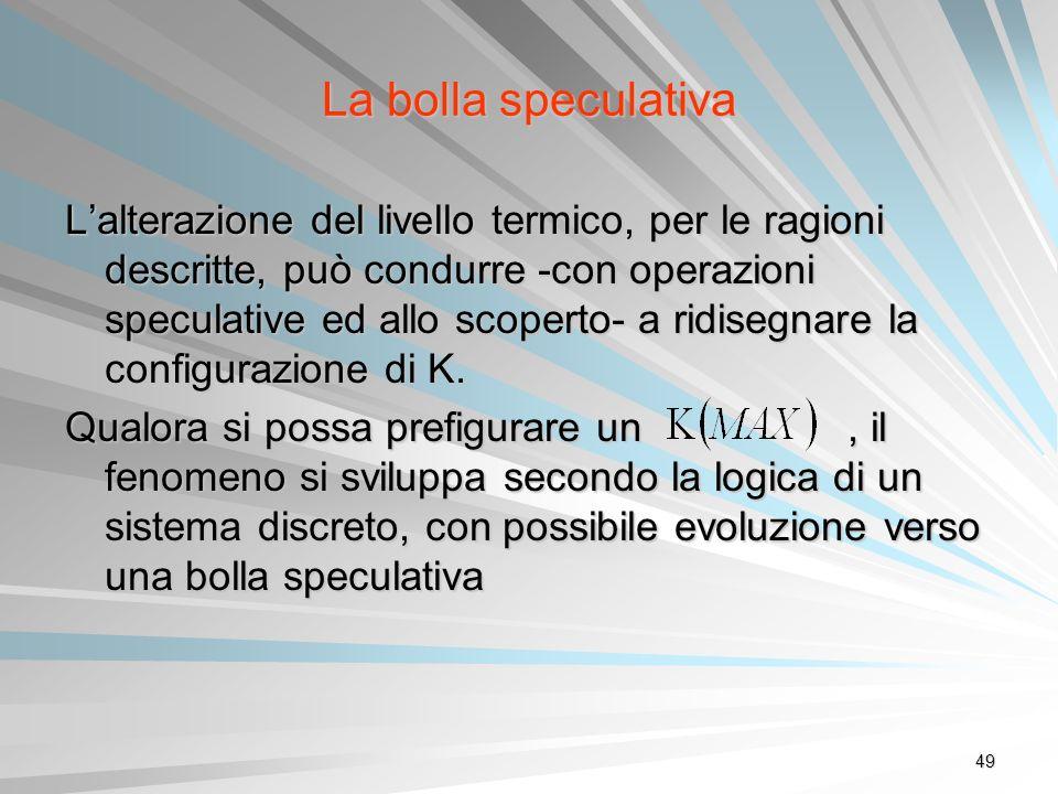 49 La bolla speculativa Lalterazione del livello termico, per le ragioni descritte, può condurre -con operazioni speculative ed allo scoperto- a ridis