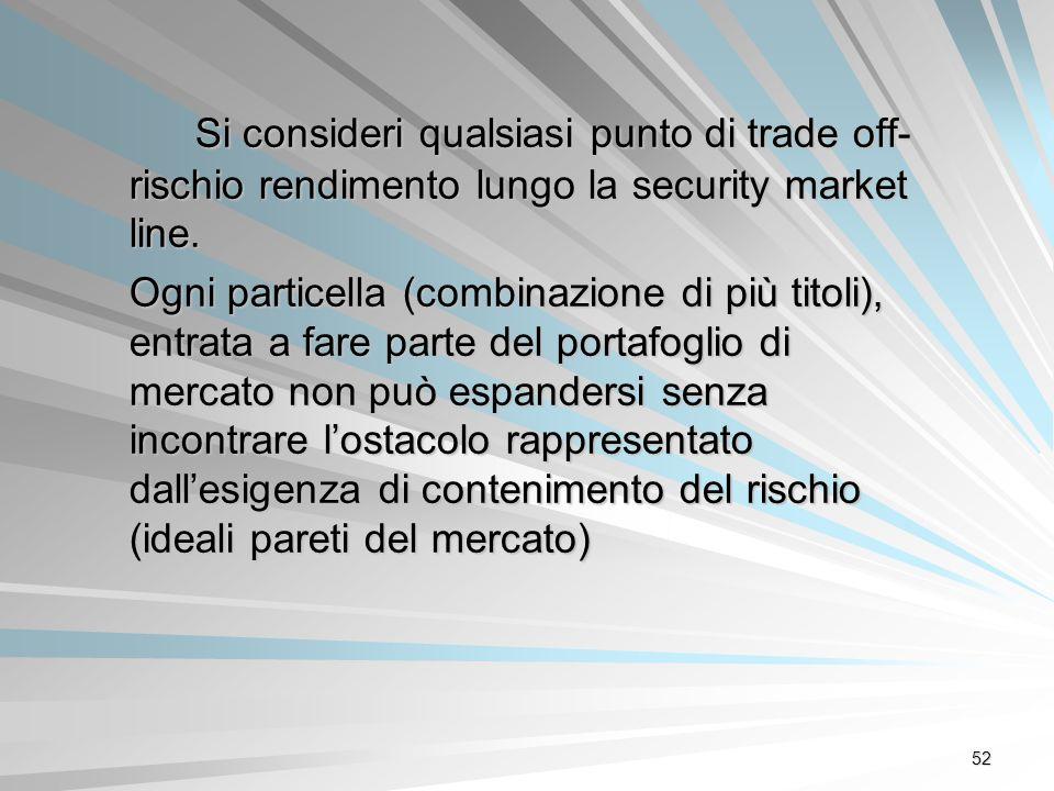 52 Si consideri qualsiasi punto di trade off- rischio rendimento lungo la security market line. Ogni particella (combinazione di più titoli), entrata