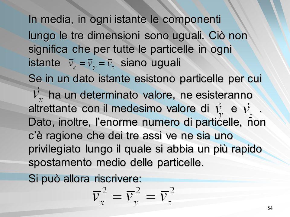 54 In media, in ogni istante le componenti lungo le tre dimensioni sono uguali. Ciò non significa che per tutte le particelle in ogni istante siano ug