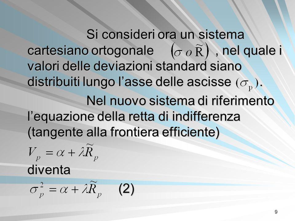 9 Si consideri ora un sistema cartesiano ortogonale, nel quale i valori delle deviazioni standard siano distribuiti lungo lasse delle ascisse. Nel nuo