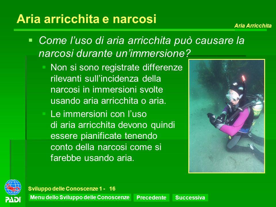 Menu dello Sviluppo delle Conoscenze Precedente Successiva Aria Arricchita Sviluppo delle Conoscenze 1 -16 Aria arricchita e narcosi Come luso di aria