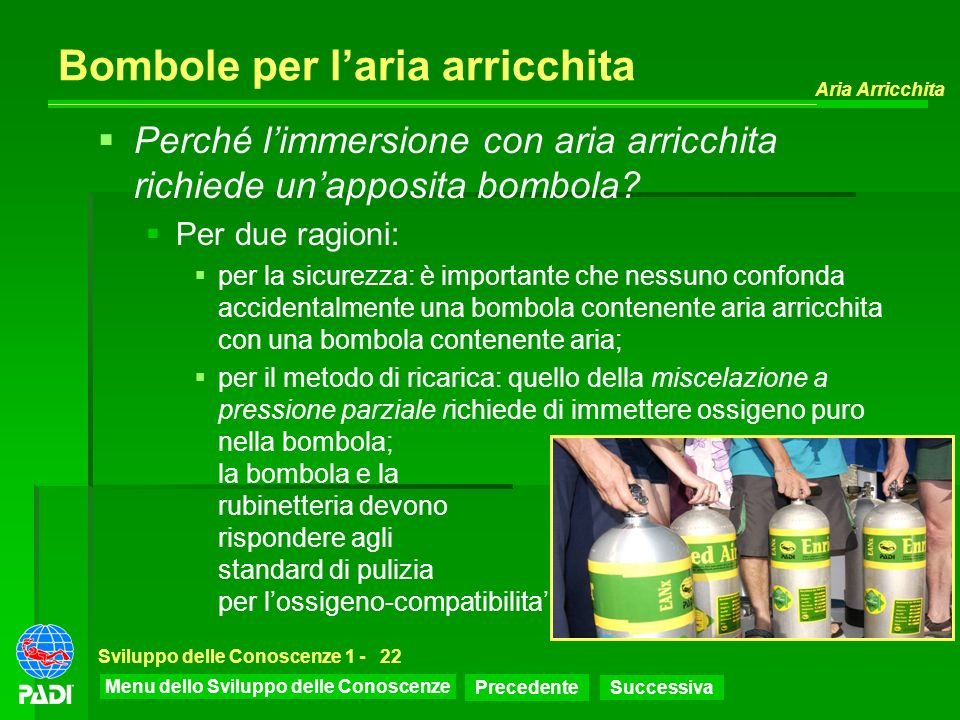 Menu dello Sviluppo delle Conoscenze Precedente Successiva Aria Arricchita Sviluppo delle Conoscenze 1 -22 Bombole per laria arricchita Perché limmers