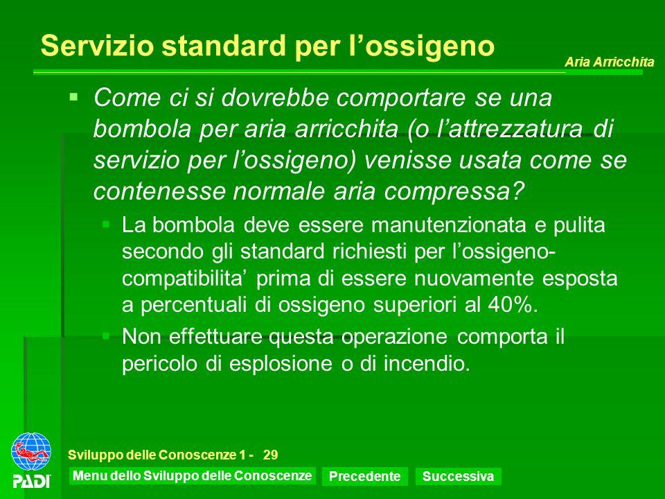 Menu dello Sviluppo delle Conoscenze Precedente Successiva Aria Arricchita Sviluppo delle Conoscenze 1 -29 Servizio standard per lossigeno Come ci si