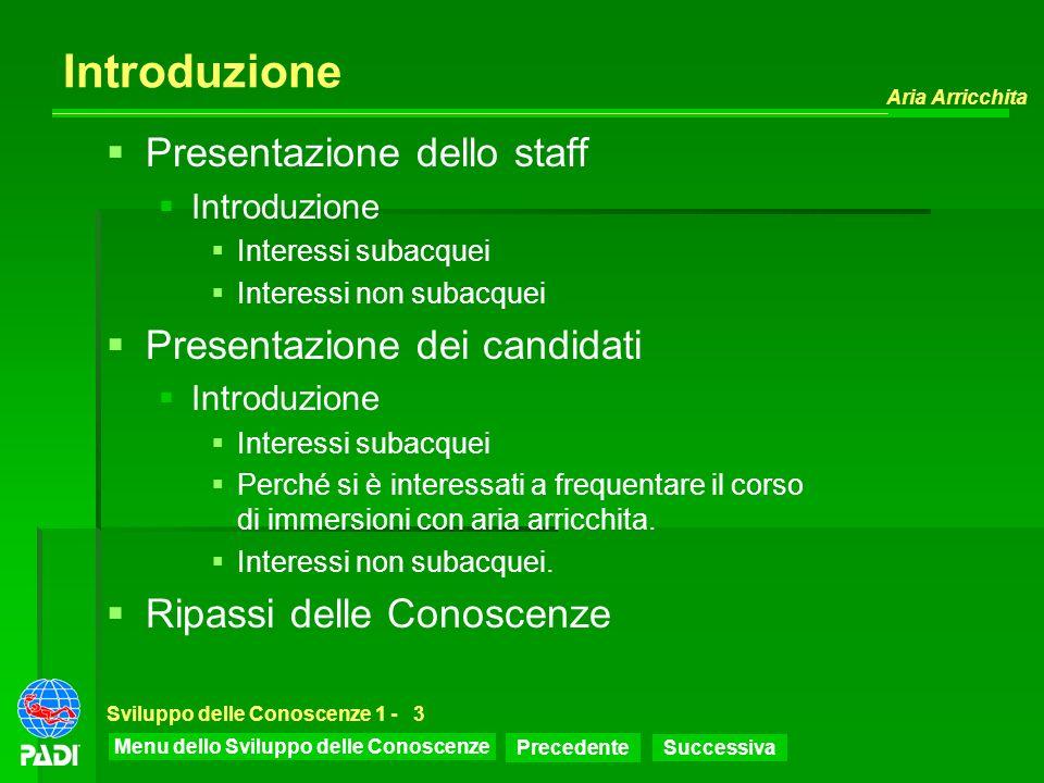 Menu dello Sviluppo delle Conoscenze Precedente Successiva Aria Arricchita Sviluppo delle Conoscenze 1 -3 Introduzione Presentazione dello staff Intro