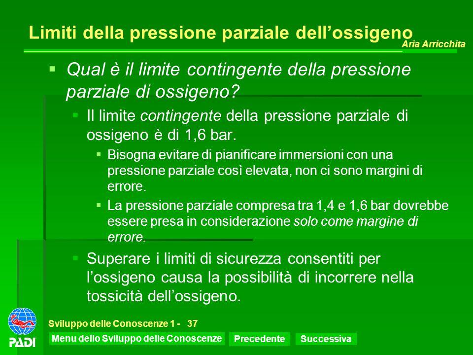 Menu dello Sviluppo delle Conoscenze Precedente Successiva Aria Arricchita Sviluppo delle Conoscenze 1 -37 Limiti della pressione parziale dellossigen
