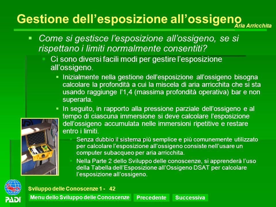 Menu dello Sviluppo delle Conoscenze Precedente Successiva Aria Arricchita Sviluppo delle Conoscenze 1 -42 Gestione dellesposizione allossigeno Come s