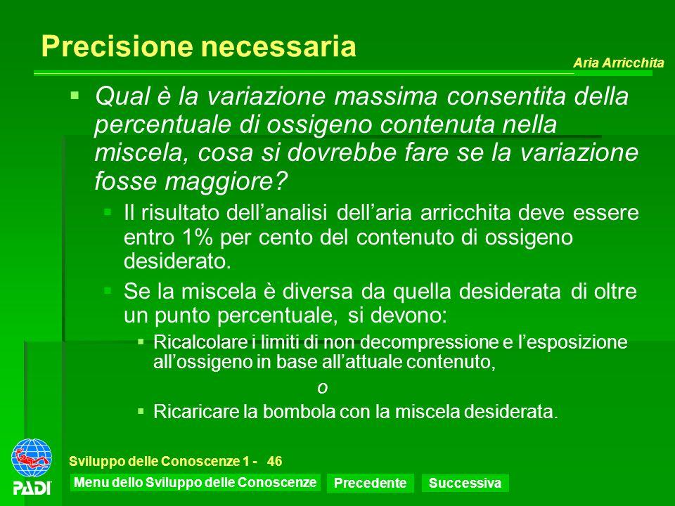 Menu dello Sviluppo delle Conoscenze Precedente Successiva Aria Arricchita Sviluppo delle Conoscenze 1 -46 Precisione necessaria Qual è la variazione
