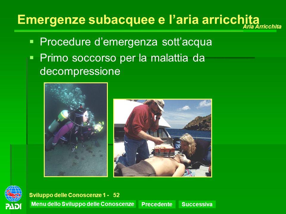 Menu dello Sviluppo delle Conoscenze Precedente Successiva Aria Arricchita Sviluppo delle Conoscenze 1 -52 Emergenze subacquee e laria arricchita Proc
