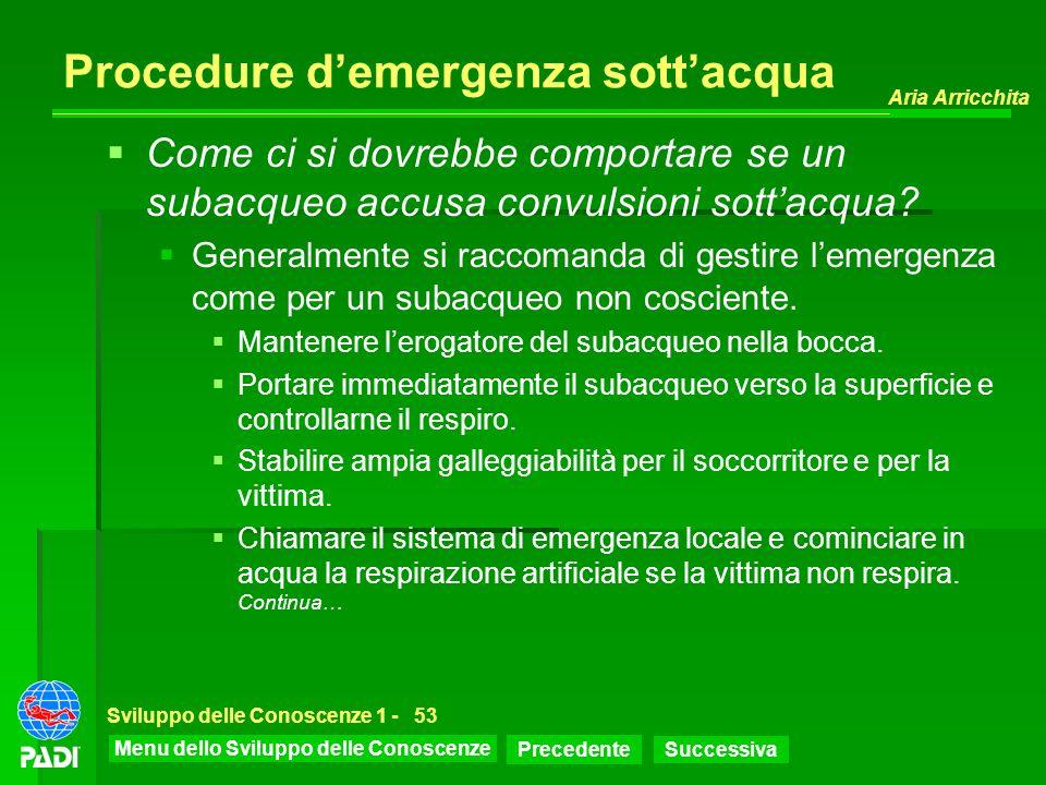 Menu dello Sviluppo delle Conoscenze Precedente Successiva Aria Arricchita Sviluppo delle Conoscenze 1 -53 Procedure demergenza sottacqua Come ci si d