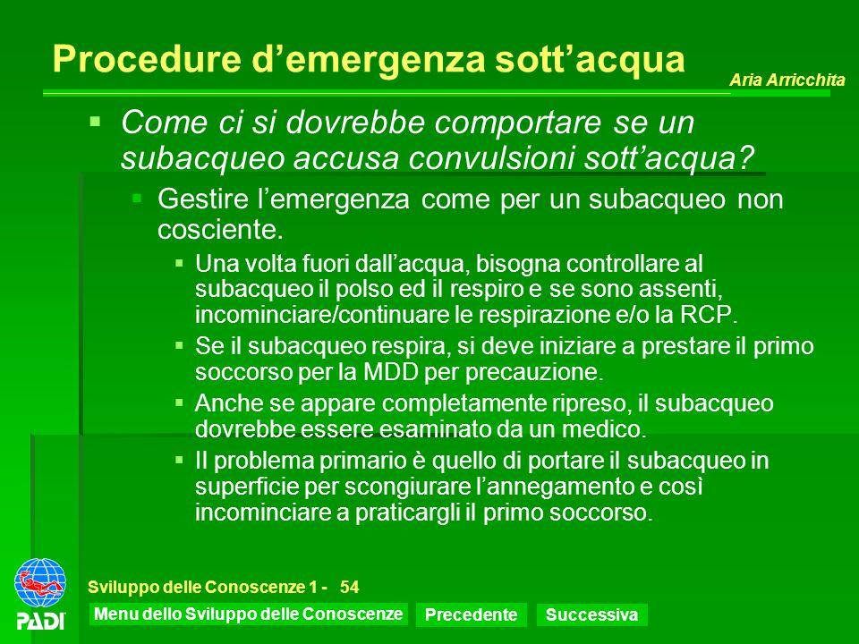 Menu dello Sviluppo delle Conoscenze Precedente Successiva Aria Arricchita Sviluppo delle Conoscenze 1 -54 Procedure demergenza sottacqua Come ci si d