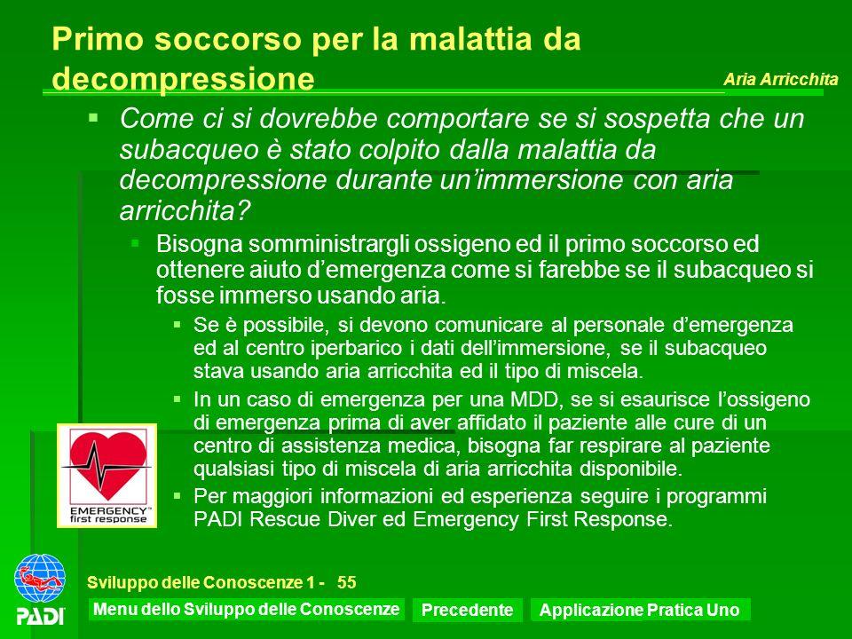 Menu dello Sviluppo delle Conoscenze Precedente Successiva Aria Arricchita Sviluppo delle Conoscenze 1 -55 Primo soccorso per la malattia da decompres