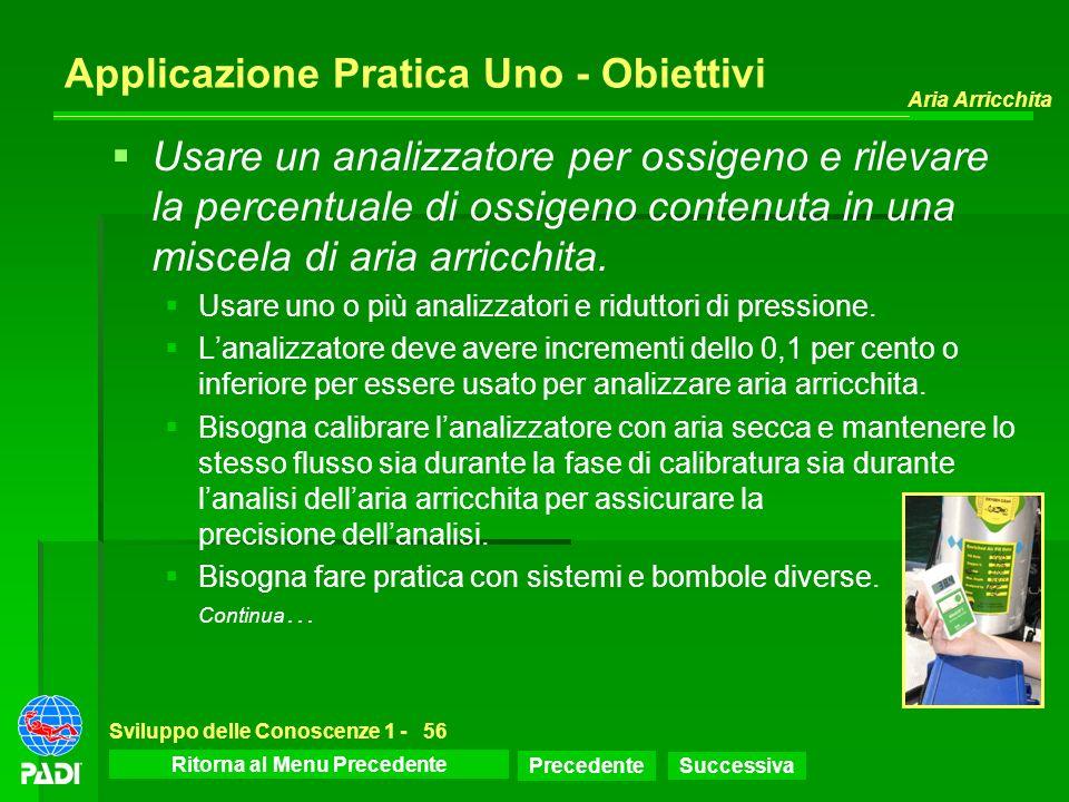 Menu dello Sviluppo delle Conoscenze Precedente Successiva Aria Arricchita Sviluppo delle Conoscenze 1 -56 Applicazione Pratica Uno - Obiettivi Usare