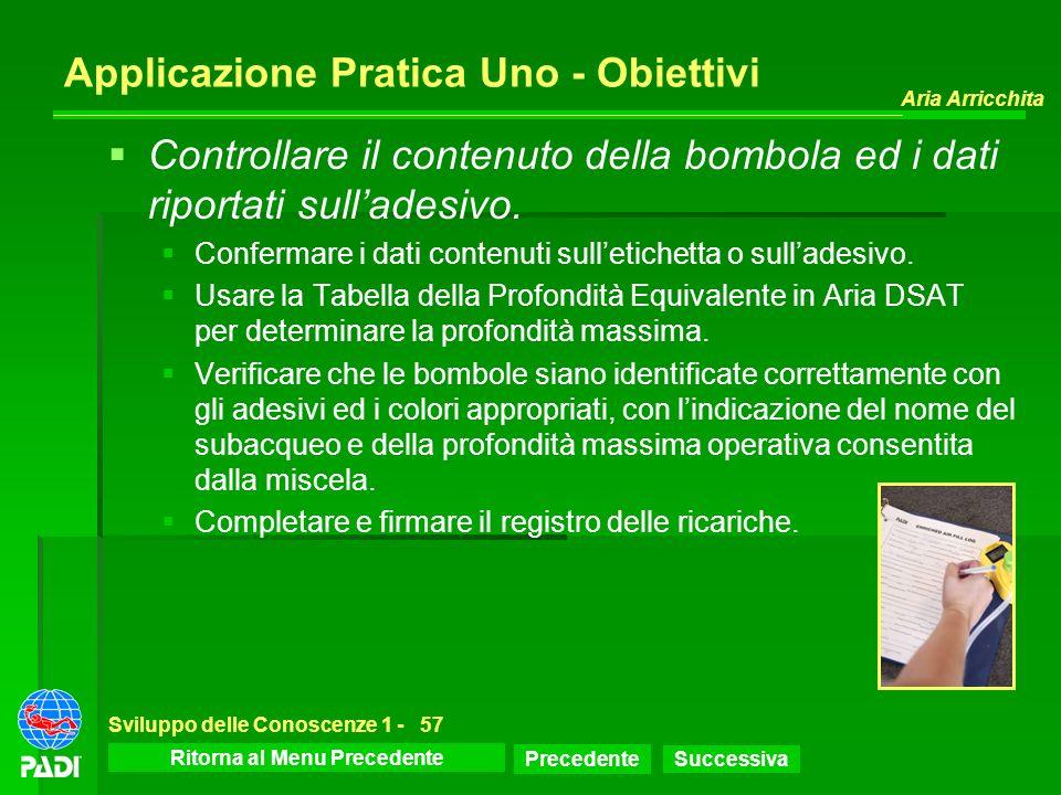 Menu dello Sviluppo delle Conoscenze Precedente Successiva Aria Arricchita Sviluppo delle Conoscenze 1 -57 Applicazione Pratica Uno - Obiettivi Contro