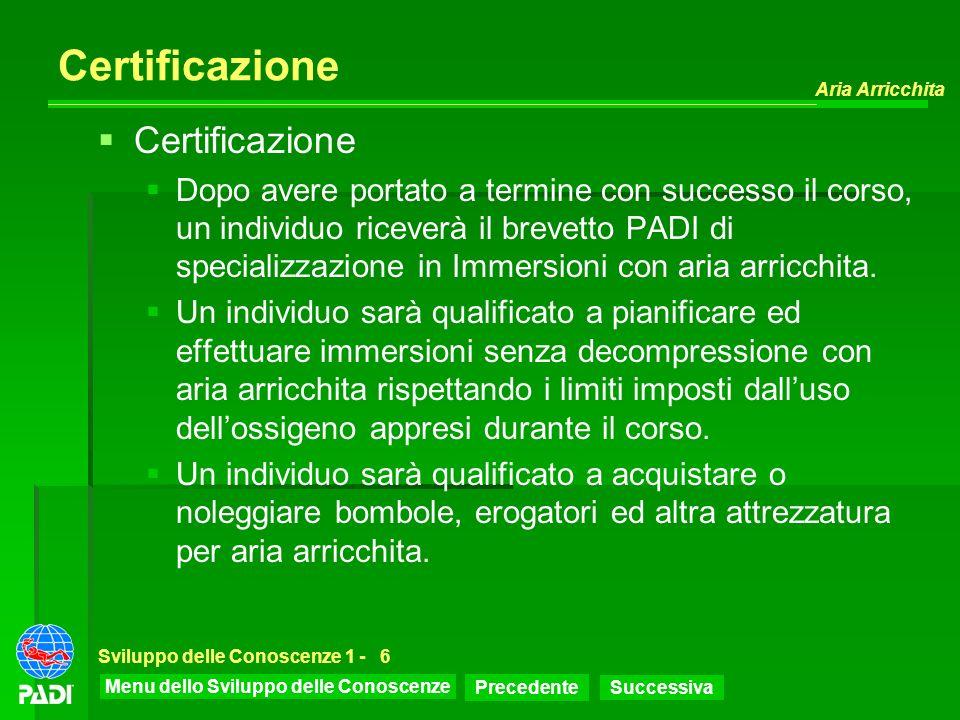 Menu dello Sviluppo delle Conoscenze Precedente Successiva Aria Arricchita Sviluppo delle Conoscenze 1 -6 Certificazione Dopo avere portato a termine