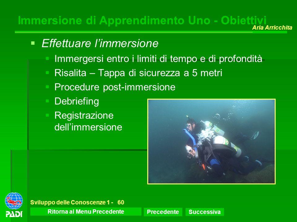 Menu dello Sviluppo delle Conoscenze Precedente Successiva Aria Arricchita Sviluppo delle Conoscenze 1 -60 Immersione di Apprendimento Uno - Obiettivi